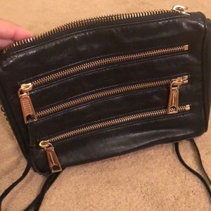 Black leather Rebecca Minkoff zipper crossbody